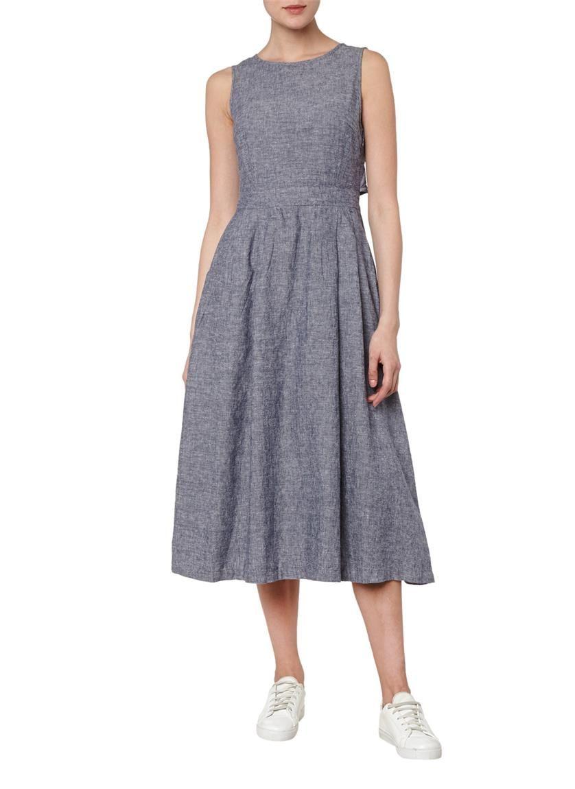 Warehouse A-lijn jurk in linnenmix