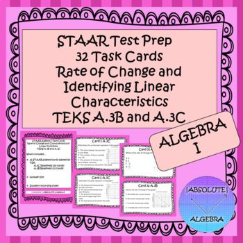 STAAR EOC Algebra I Task Cards A.3C and A.3B Linear ...