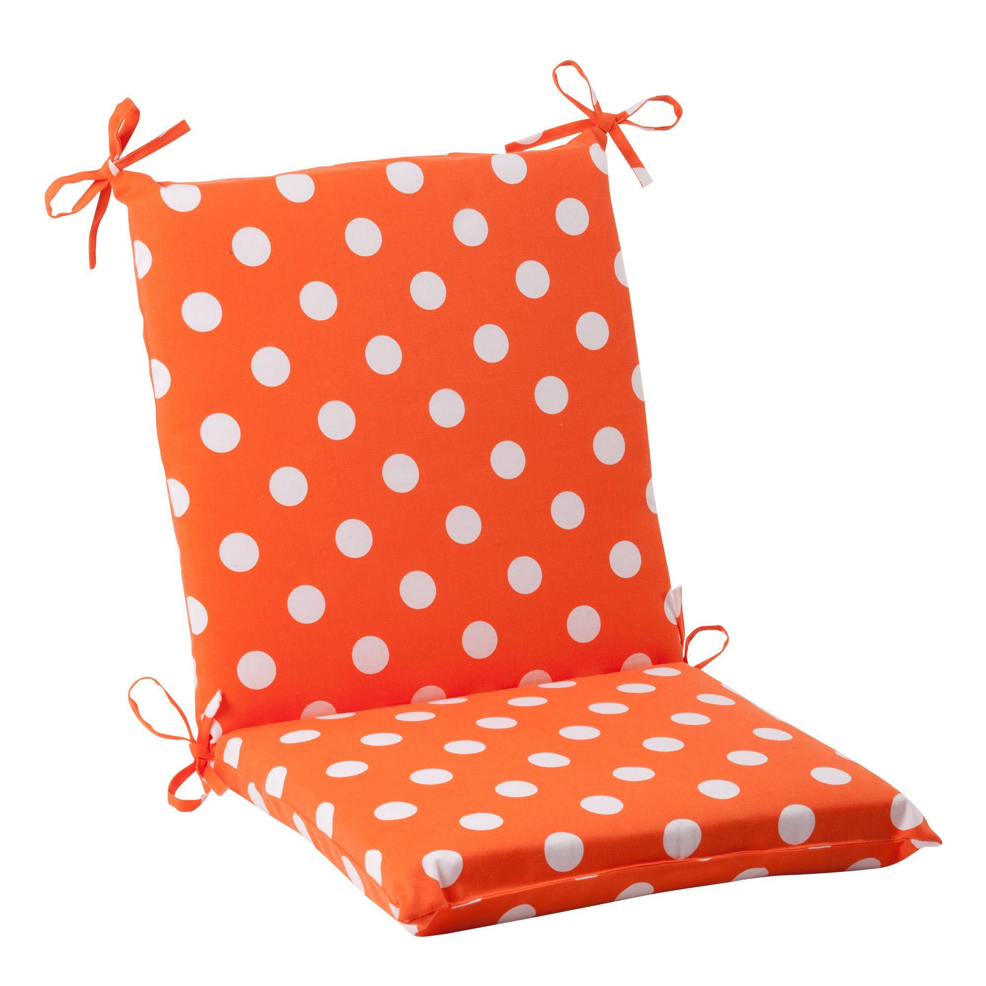 pillow perfect orange polka dot squared indoor outdoor chair