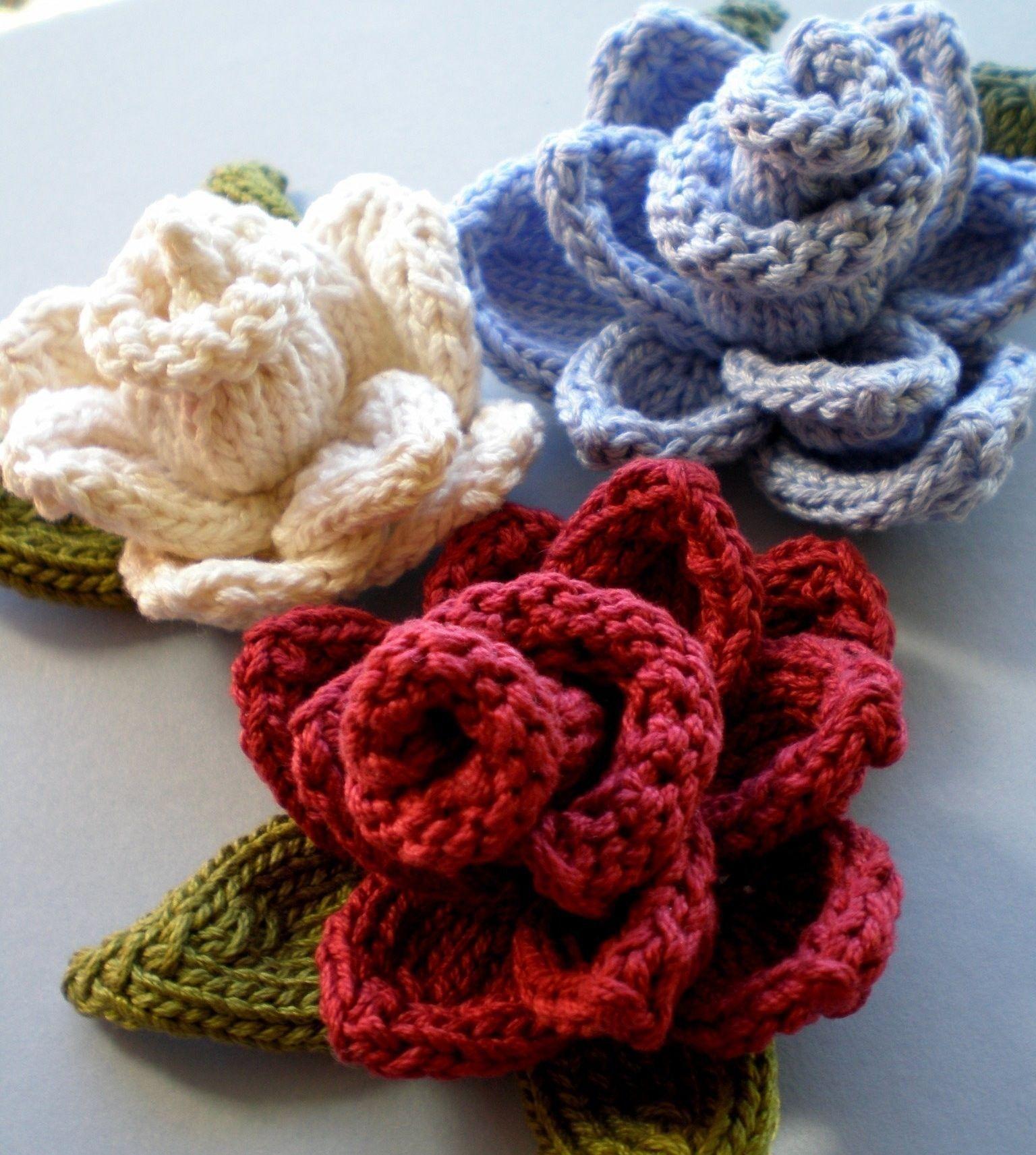 PDF Knitting Pattern - Rose Knit Flower