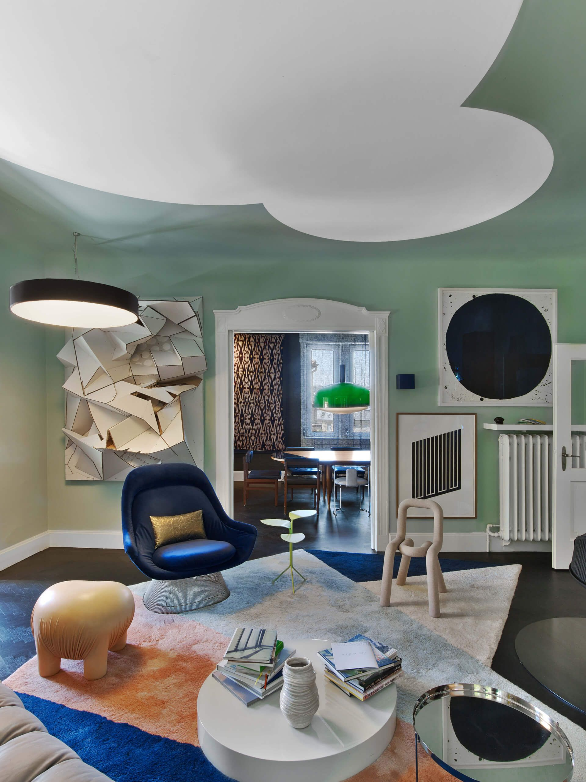 Mix of furniture nonagon style showcasing eclectic interior design by ippolito fleitz group