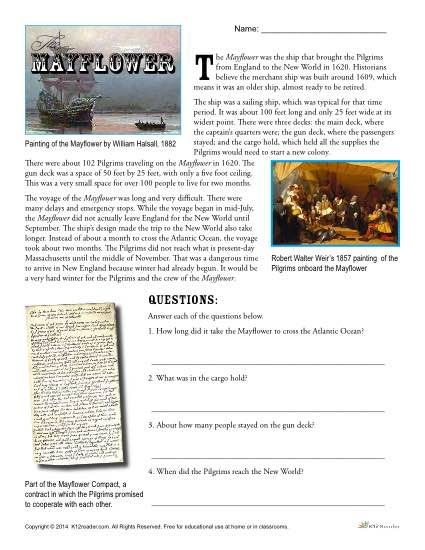 Mayflower Reading Passage and Questions Thanksgiving