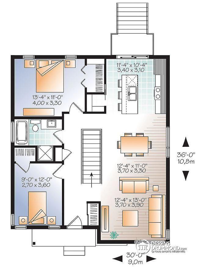 Plan de Rez-de-chaussée Modèle contemporain abordable, 4 chambres, 2 - Plan De Maison Originale
