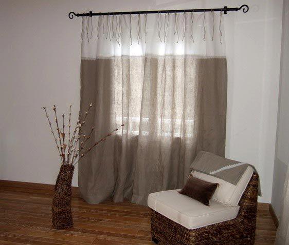 interesting rideaux lin et mtis with rideaux maison de campagne. Black Bedroom Furniture Sets. Home Design Ideas