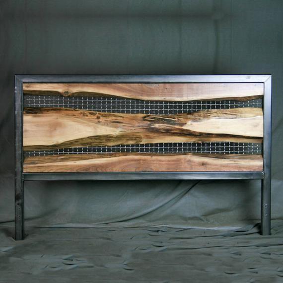 Live Edge Walnut Headboard. Vintage Headboard. Rustic Headboard, Modern Bedroom. Steel.