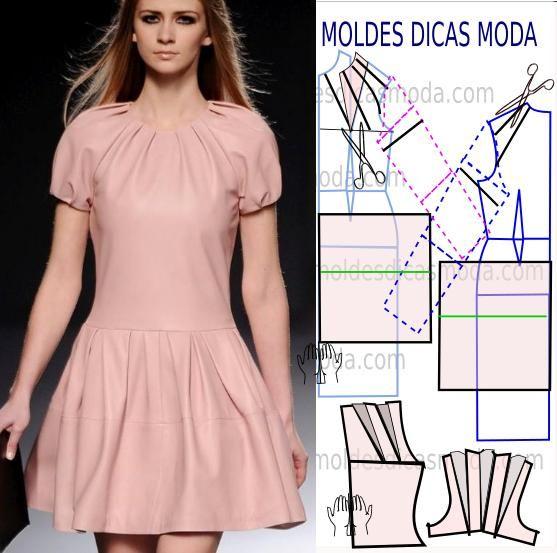 7a1b8418f5 Passo a passo transformação do molde de vestido. Corte e costura fácil de  vestido.