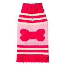 Striped Bone Turtleneck Dog Sweater by Fab Dog - Pink