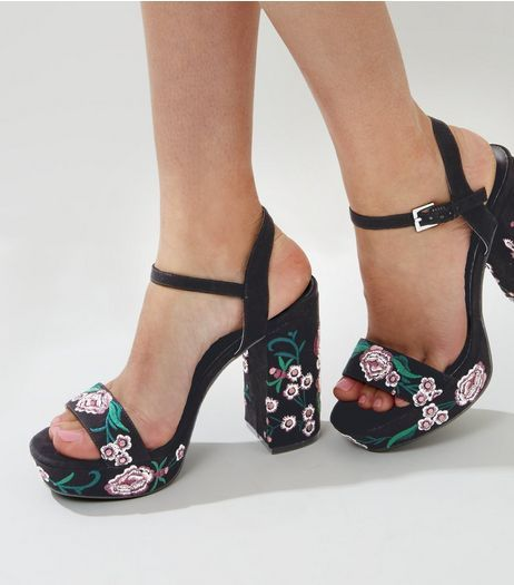 Black Suedette Floral Embroidered Platform Heels | New Look ...