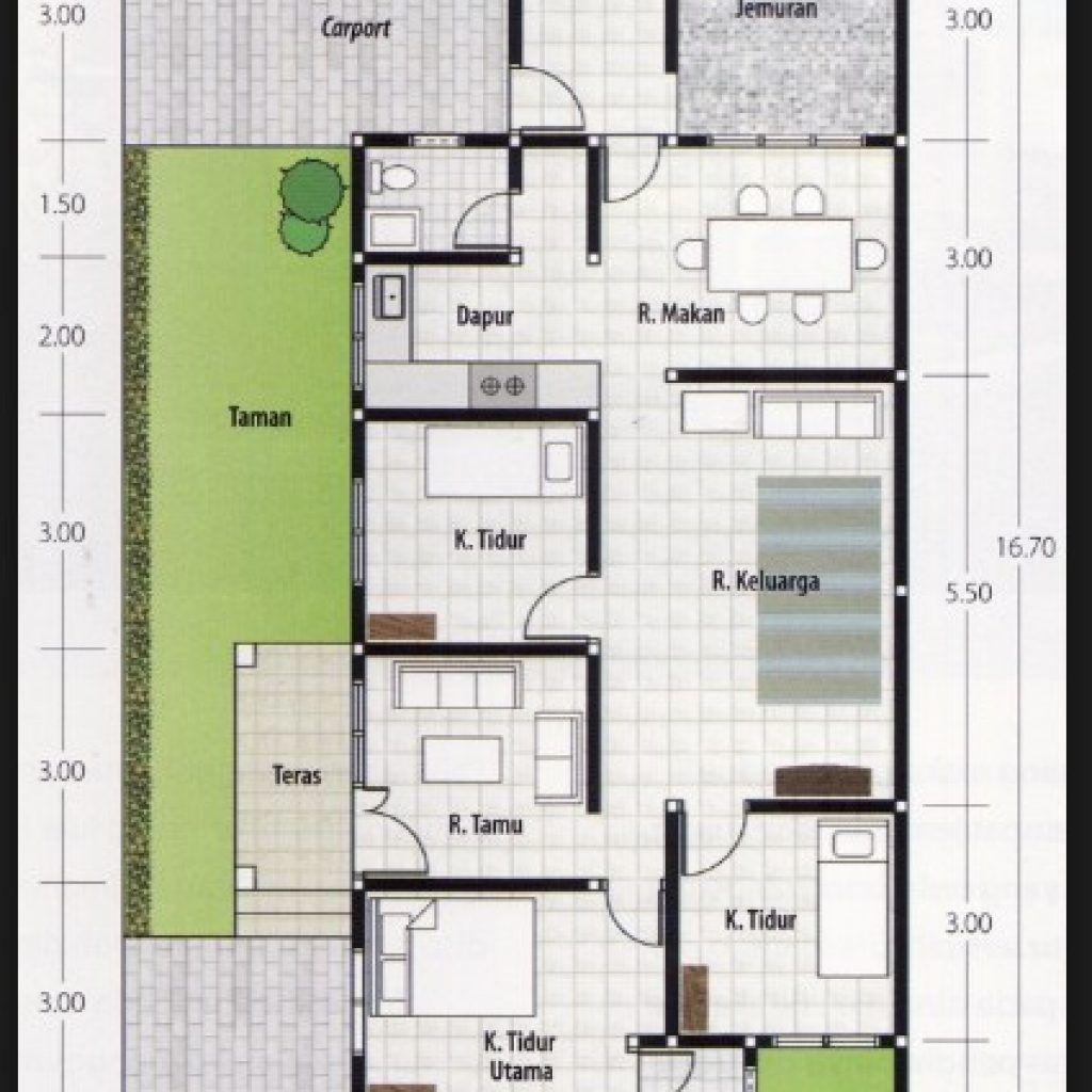 Denah Rumah 3 Kamar Ukuran 6x12 Terbaik Dan Terbaru Design