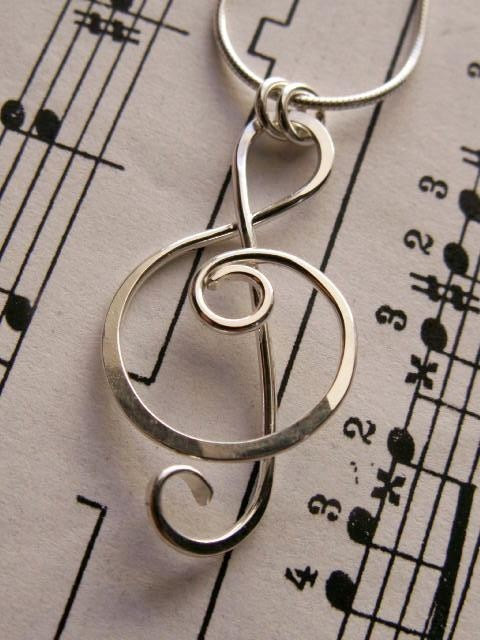 Treble Clef Pendant or Charm in Sterling Silver, Wire Wrapped Metalwork, Shiny #trebleclef