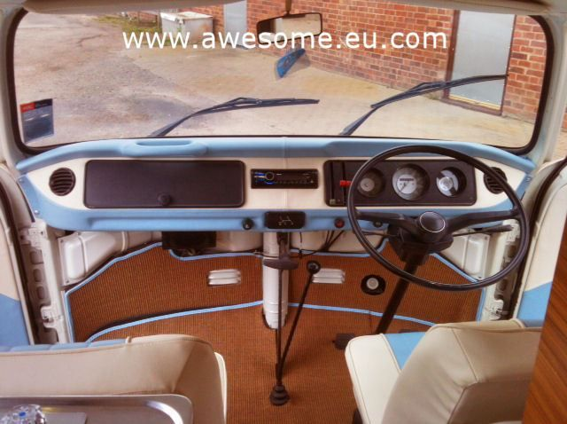 VW T2 Campervan dashboard custom trimmed to match new interior