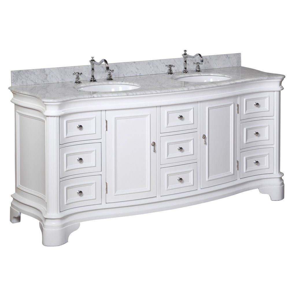 Katherine 72 Inch Double Vanity With Carrara Marble Top In 2020 72 Inch Bathroom Vanity Bathroom Vanity Double Vanity Bathroom [ 1024 x 1024 Pixel ]