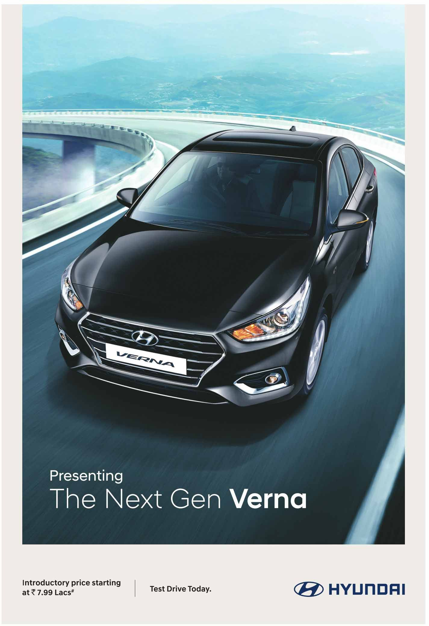 Next Gen Hyundai Verna Launched In India Price Starting At Rs 7 99 Lakhs Hyundai Hyundai Cars