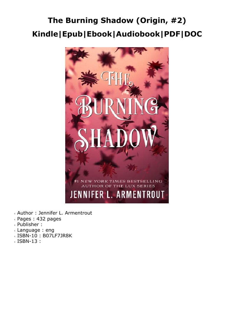 P D F The Burning Shadow Origin 2 Read Online Audio Books Lux Series Bestselling Author