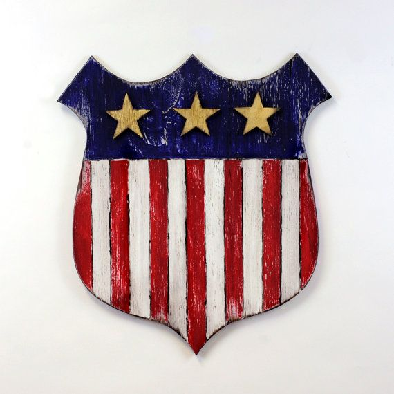 american flag shield wooden sign by slippin southern large