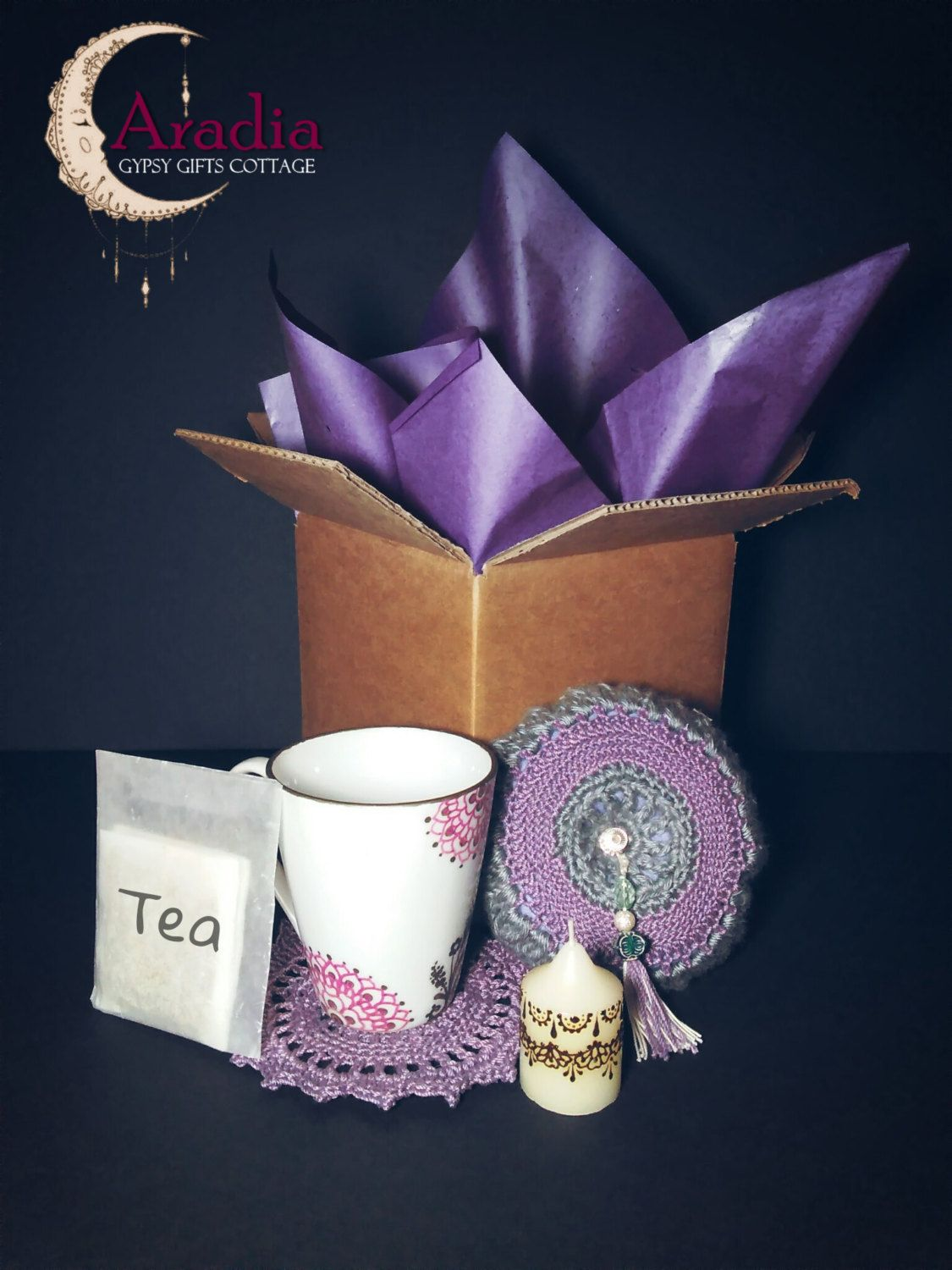 Mother S Day Tea Time Gift Set With Crochet Items And A Henna Candle