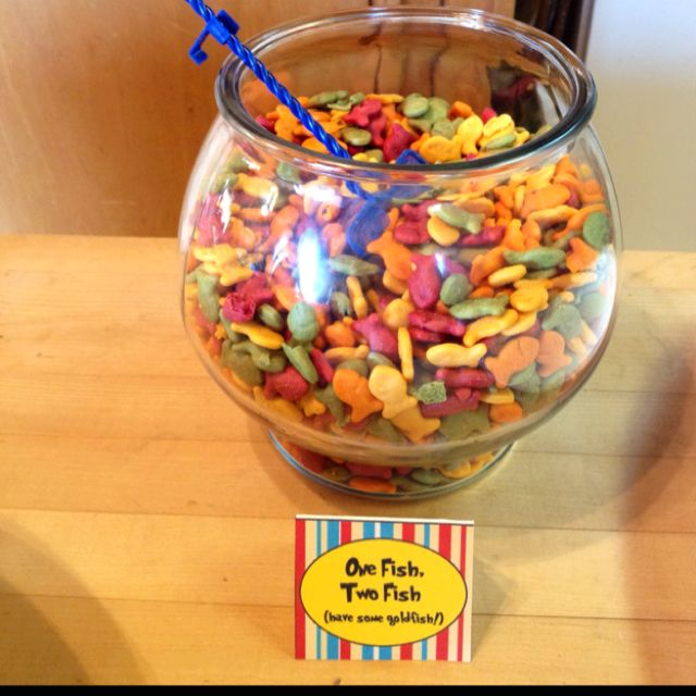 Goldfish in a fishbowl w/ a fish net scooper! @Katherine Pomroy