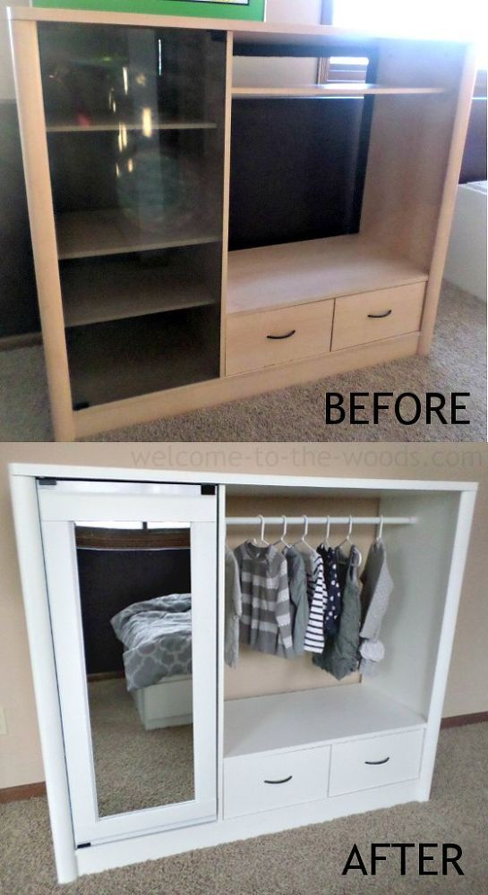 Entertainment Center Turned Kids Closet Armoire Furniture Makeover - muebles reciclados