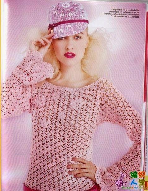 Delicada túnica tejida al crochet, con mangas largas y apliques de ...
