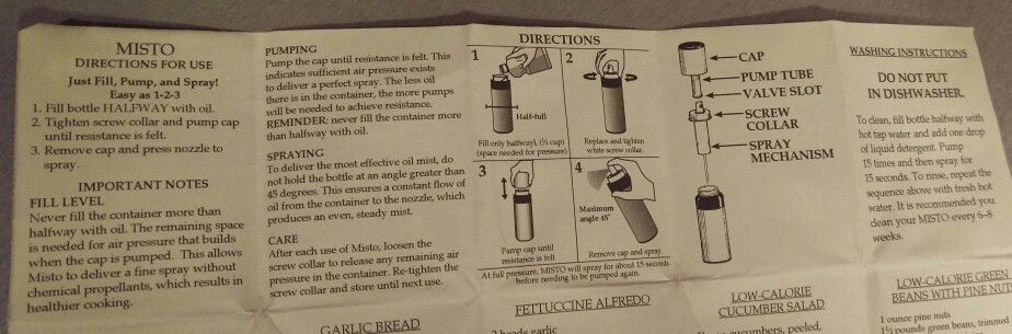 Misto Oil Sprayer Instructions Care Cleaning Laundering