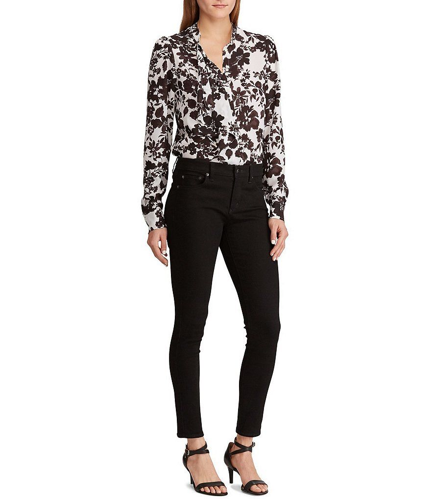a52a88a3d16079 Lauren Ralph Lauren Ruffled Floral Print Button Front Georgette Shirt # Ruffled, #Floral,
