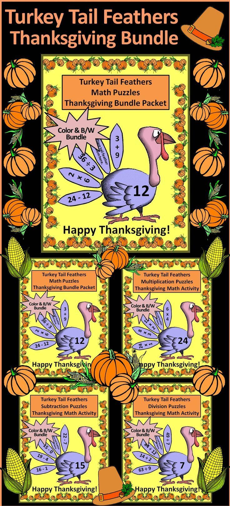 Thanksgiving Games Turkey Tail Feathers Math Puzzles