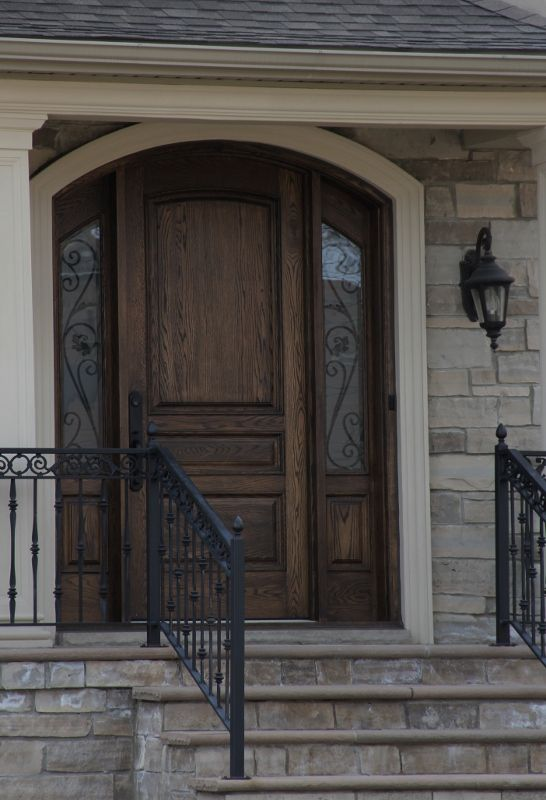 Doors Design: Solid Wood Front Door With Accent Side Panels.