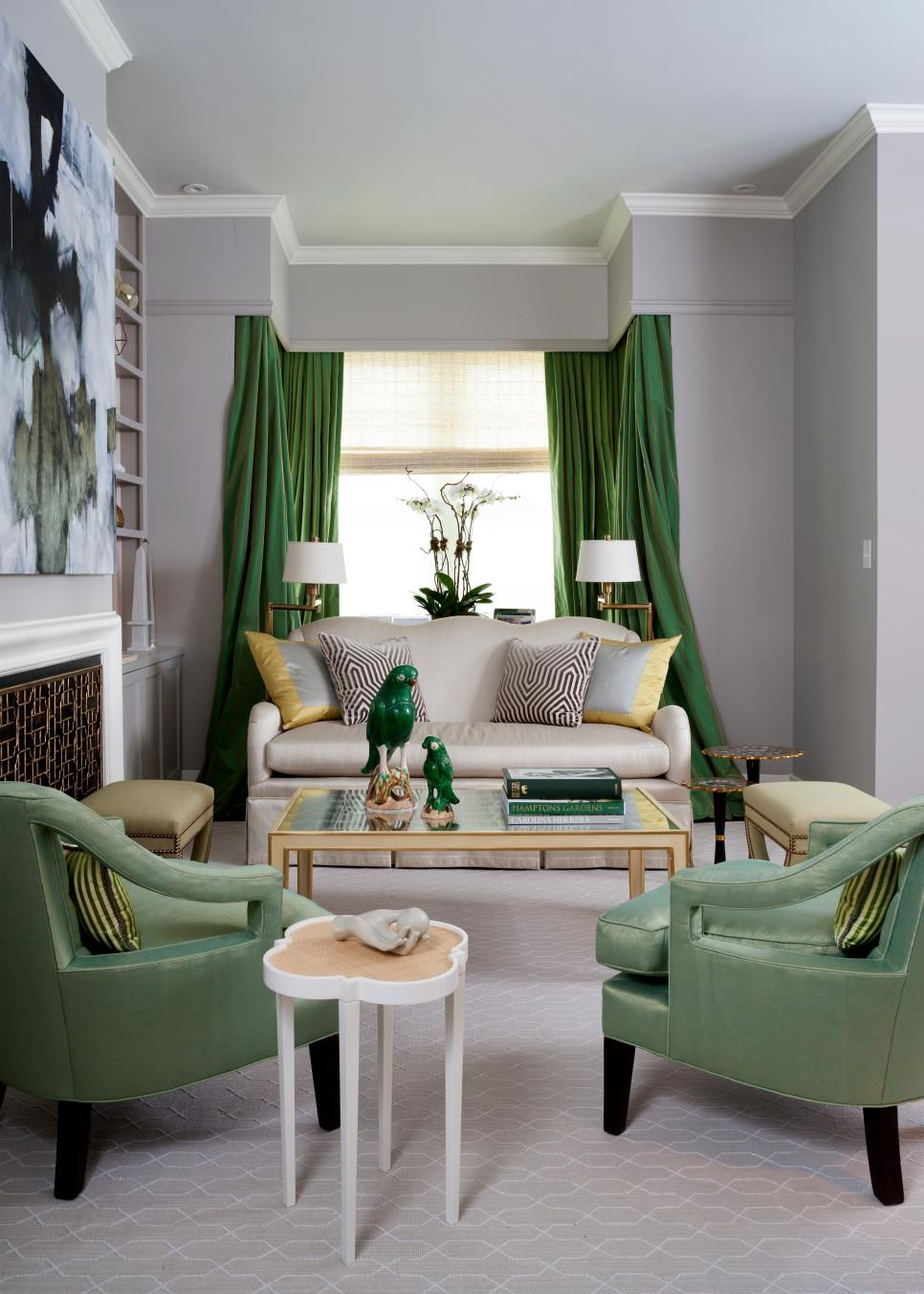Transitional Living Room With Green Accents