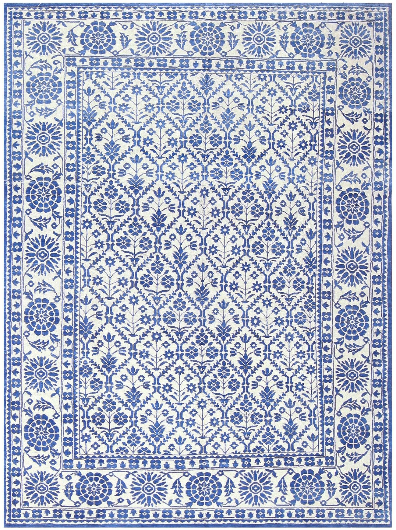 Charming Blue And White Vintage Indian Agra Cotton Rug