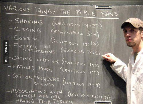 Various bible bans - the last point makes perfect sense