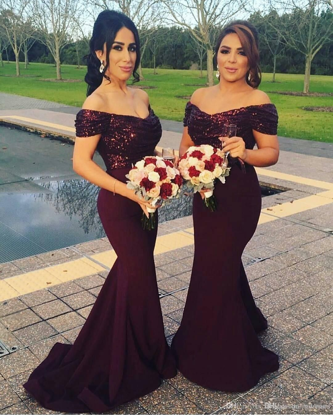 2017 Burgundy Off The Shoulder Mermaid Long Bridesmaid Dresses Sparkling Sequined Top Wedding Guest Blush