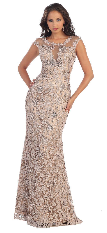 b095f966e95 ... plus size. This elegant floor length formal dress features cap sleeve