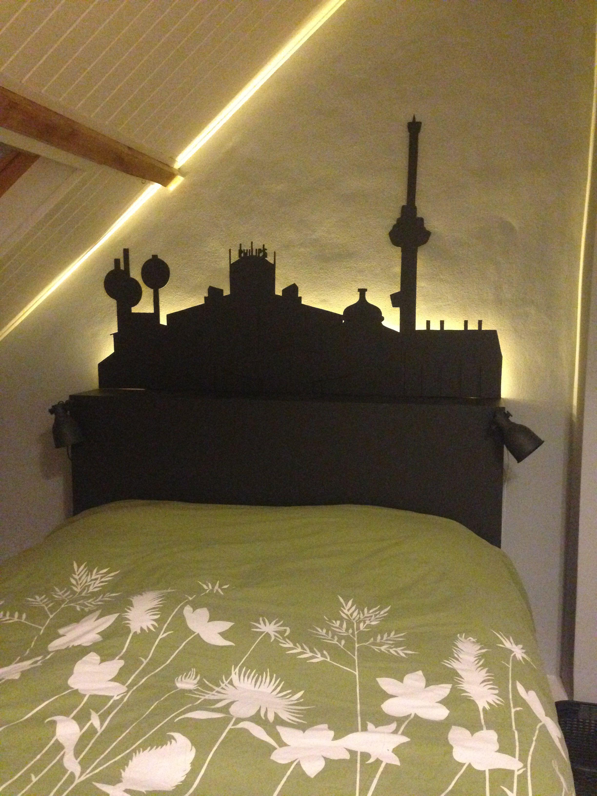 Headboard slaapkamer - skyline met led-verlichting | Eigen creaties ...