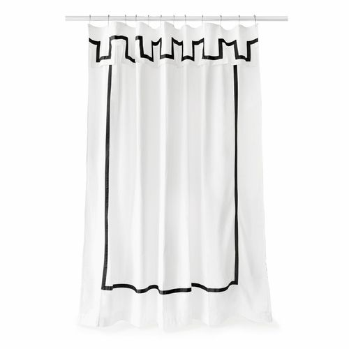 Jonathan Adler Santorini Black Shower Curtain White Shower