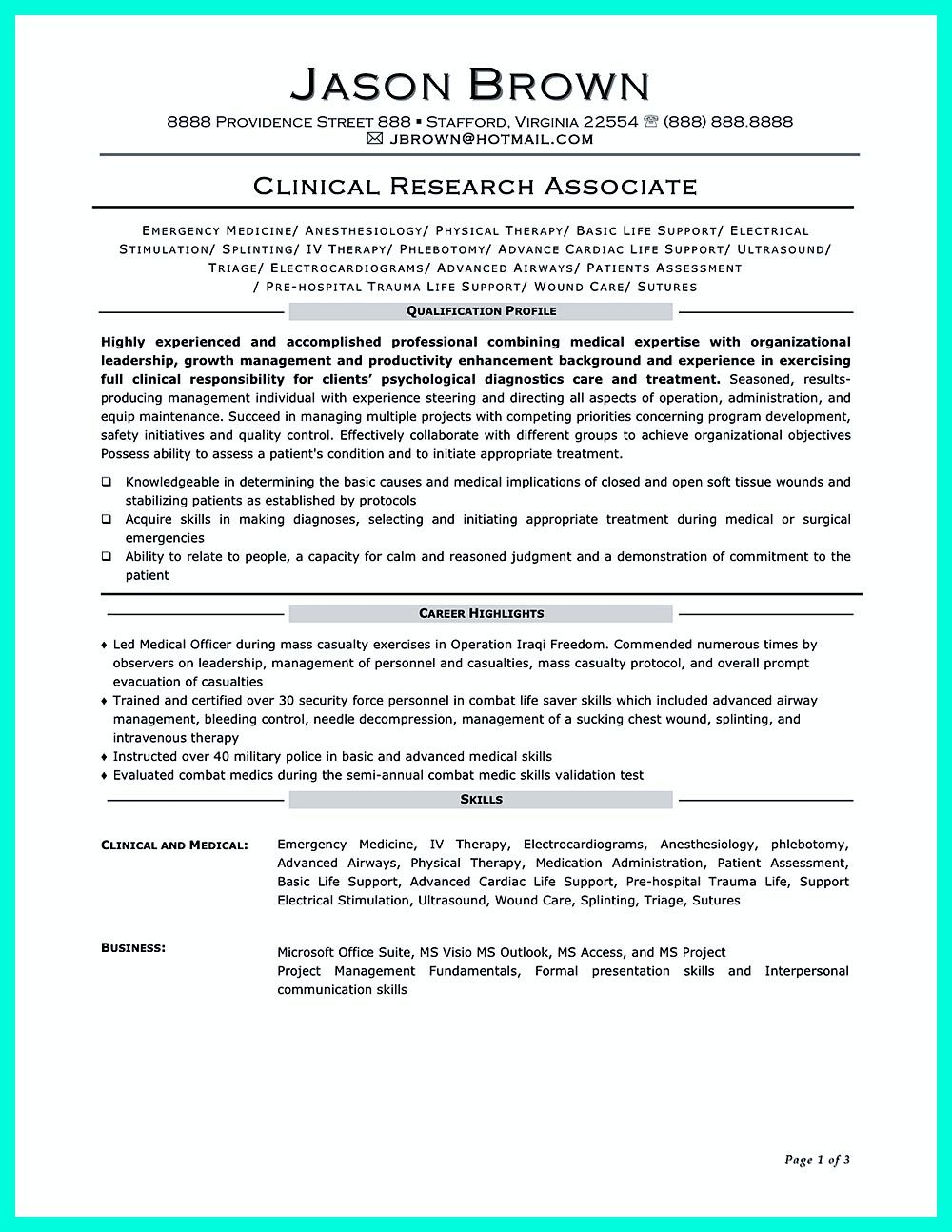 clinical research associate resume objectives are needed to convince