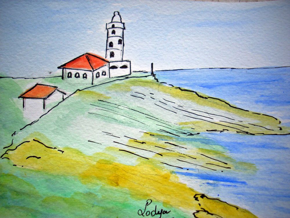 Aquarelle Originale Santander Signee Lodya Watercolour Spain