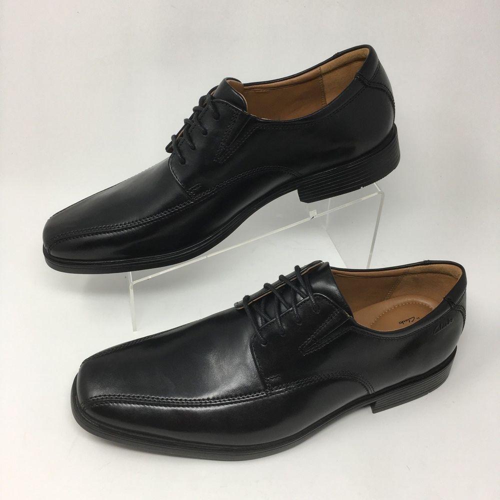 a0989afecc2c7 Clarks Men's Oxfords Tilden Walk Black Leather Lace Up Shoe Bicycle Toe  Size 10 | eBay