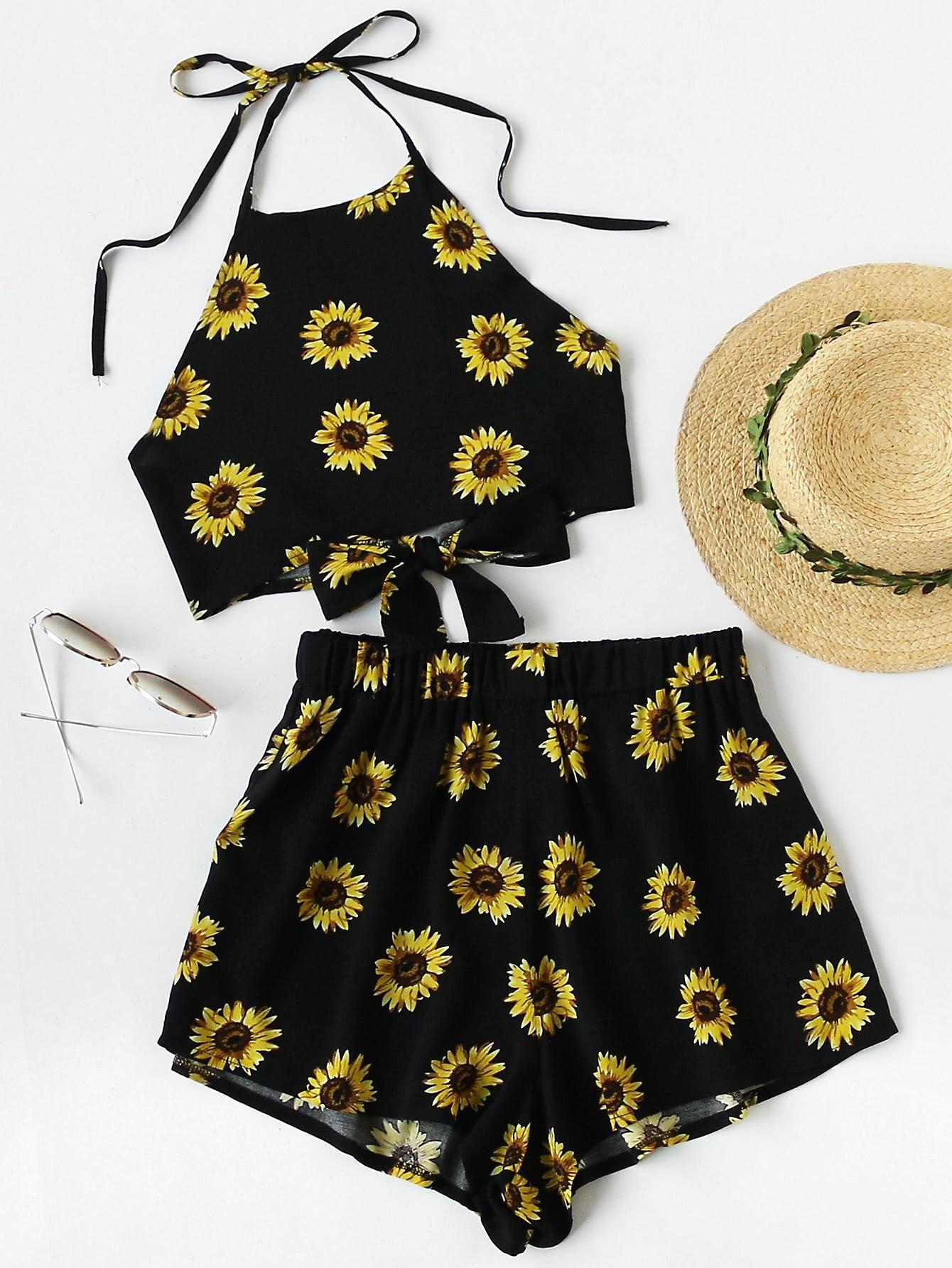 83ca0e1d74 SheIn - SheIn Chrysanthemum Print Random Knot Open Back Top With Shorts -  AdoreWe.com