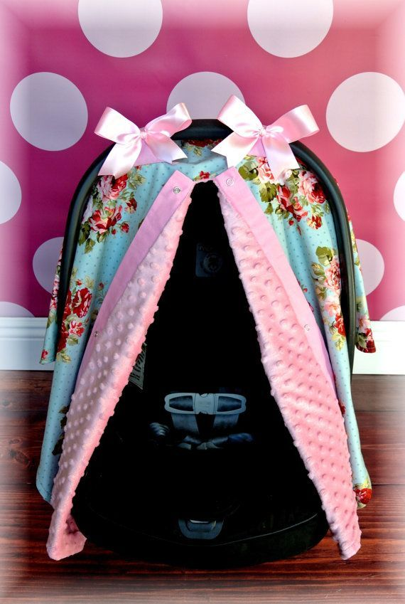 Car Seat Cover Canopy Infant Black White Pink Damask Bows Stripe Polka Dot Baby Girl