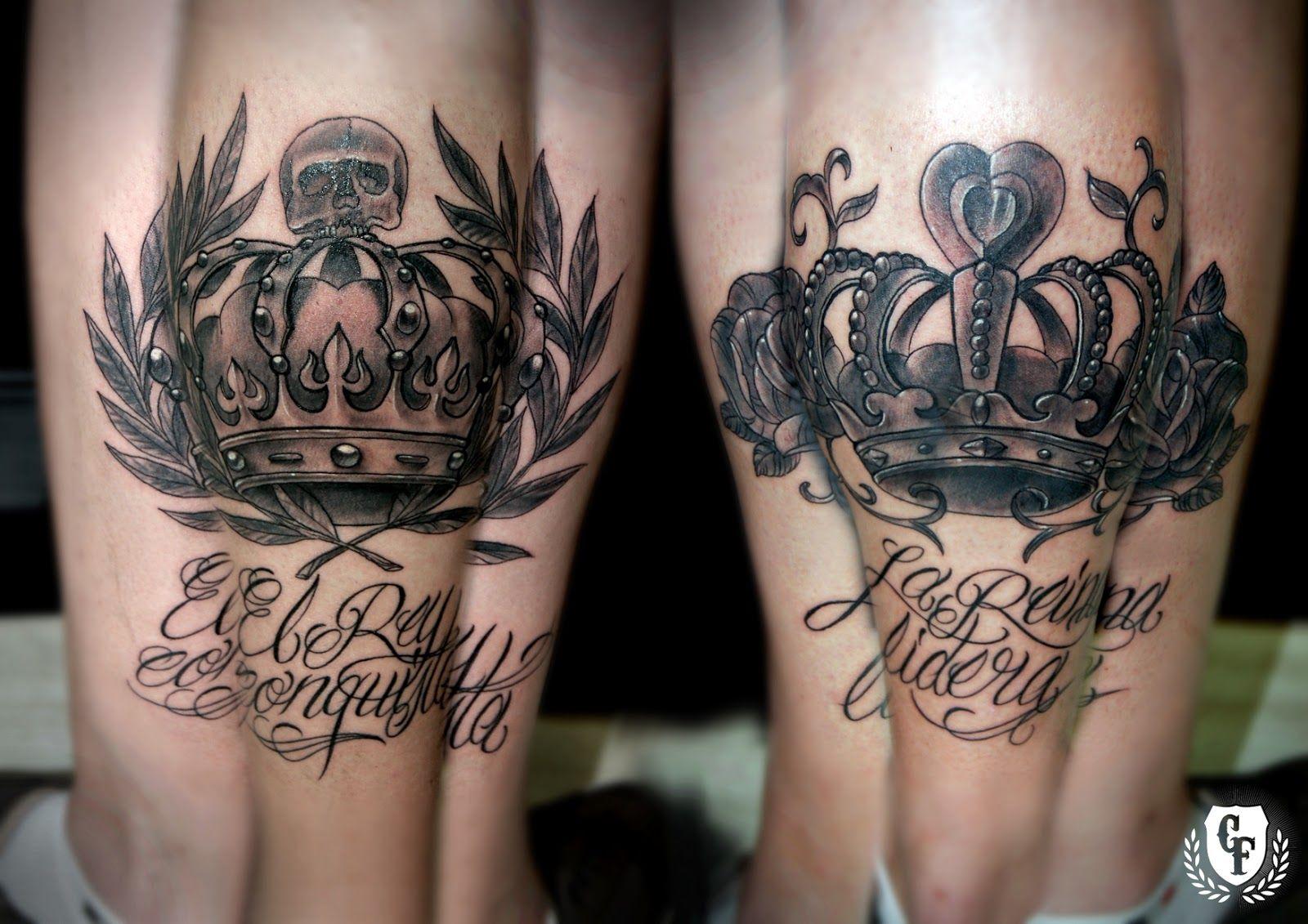 Carlos Art Studio Tatuaje Corona Rey Reina Calavera Laurel Rosa