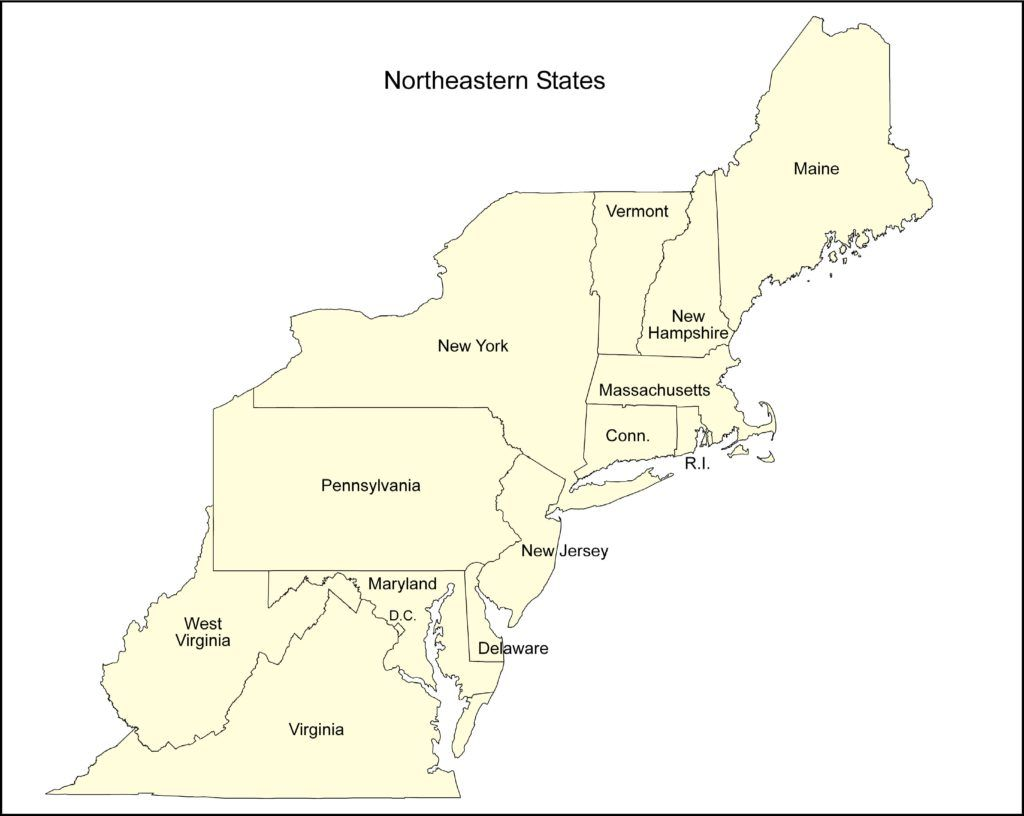 U S Regional At Map Of Northeast States In Usa