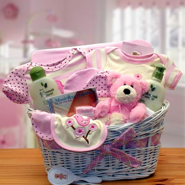 grand organic baby gift basket for girls  gift baskets  wagons, Baby shower invitation