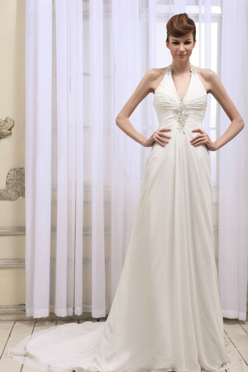Halter Neck Low Back Ruched Bodice A Line Chiffon Wedding Dress