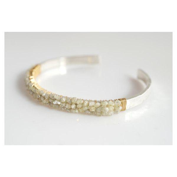 Diamond Bangle Bracelet Rough Cut Silver Liked