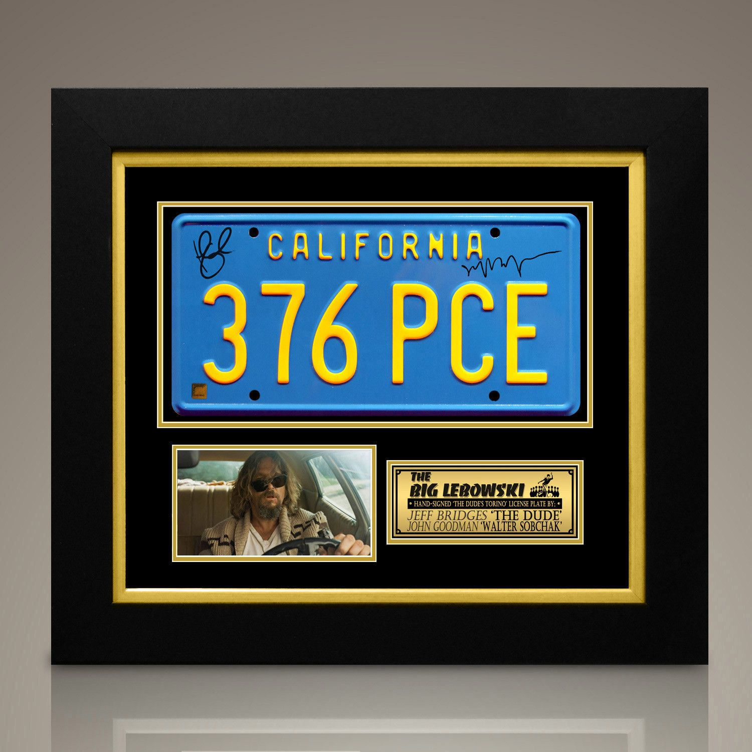 Big Lebowski Jeff Bridges John Goodman Signed License Plate Custom Frame Jeff Bridges The Big Lebowski Custom Framing