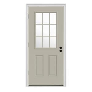 Jeld Wen 30 In X 80 In 9 Lite Desert Sand Painted Steel Prehung Right Hand Outswing Back Door W Brickmould Thdjw184600102 The Home Depot Steel Front Door Steel Entry Doors Jeld Wen