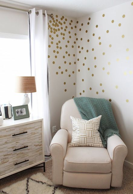 fun gold living room decor. This traditional chair paired with the mid century modern dresser and fun  gold confetti dot wall decals is just what this contemporary nursery needed Rugs USA Tuscan Moroccan Shag Ivory Rug Labor Day Sale up