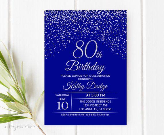 80th birthday invitation royal blue silver birthday invitation