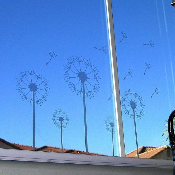 Etched Glass Dandelion Field Decals by lewasdesigns on Etsy, $26.00