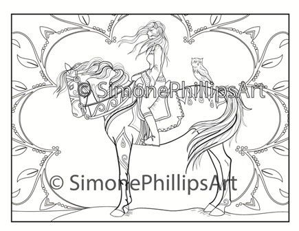 Magical Horse & Rider Coloring Page / Drawing | Horse, Collage sheet ...